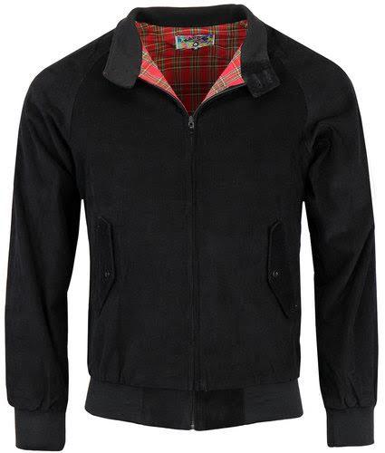 Retro Mod Needle Cord Harrington Jacket by Madcap England - black