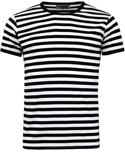 Retrorocket Mod Short Sleeve T-Shirt by Madcap England - in black & white stripes - sz L only