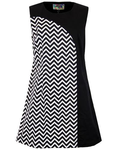 Luna Retro Mod Space Age 60's Zig Zag Panel Dress by Madcap England