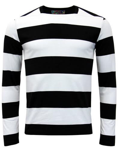 Ally Pally Mod Long Sleeve Shirt by Madcap England - in black & white stripes