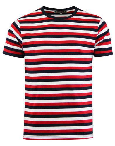 Bande Mod Short Sleeve T-Shirt by Madcap England - in tri red, navy & white stripes