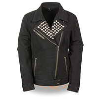 Ladies Studded Denim Biker Jacket by Milwaukee Leather- BLACK