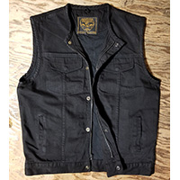 Black Denim Zip Up Collarless Club Vest by Milwaukee Leather