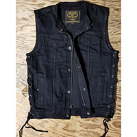 Side Lace Denim Zip Up Club Vest in Black by Milwaukee Leather