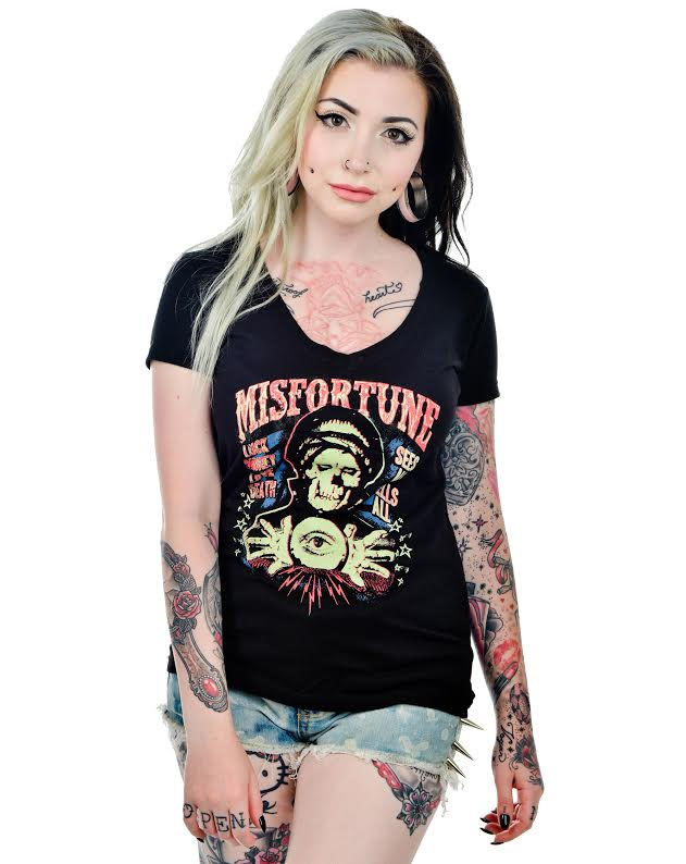 Misfortune on a black v neck girls fitted shirt by Low Brow Art Company Artist Ian McNiel