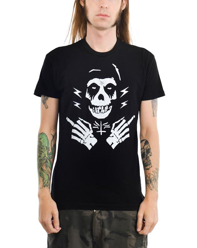 Ghost Fingers on a black ringspun cotton shirt by Too Fast Clothing (Sale price!)