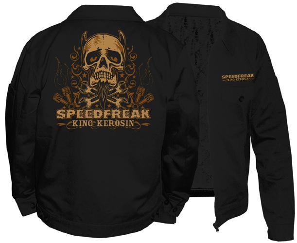 King Kerosin Embroidered Work Jacket By Timeless Clothing- Speedfreak (Skull) - SALE Sz XL Only