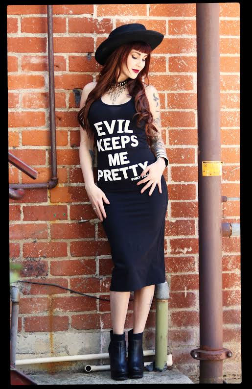 Evil Keeps Me Pretty Tank Dress by Pinky Star - SALE sz S only