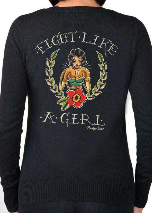 Fight Like a Girl Cardigan by Pinky Star - SALE sz 3X only