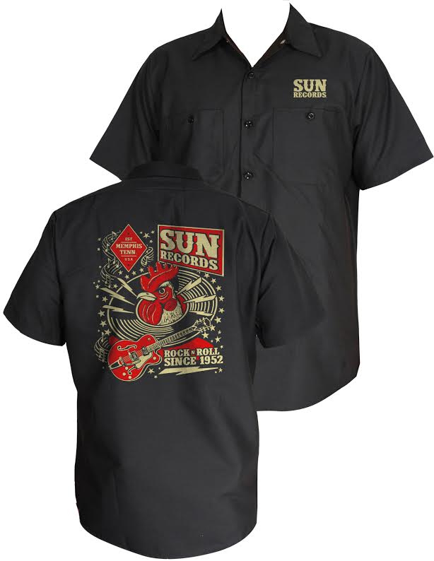 Sun Records- Hop Workshop Rooster Head short sleeve Work Shirt by Steady Clothing