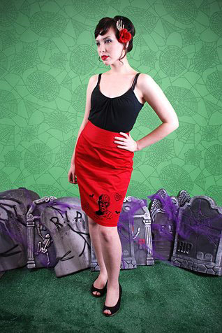 Mummy on a red pencil skirt by Dressed To Kill - SALE sz S & M only