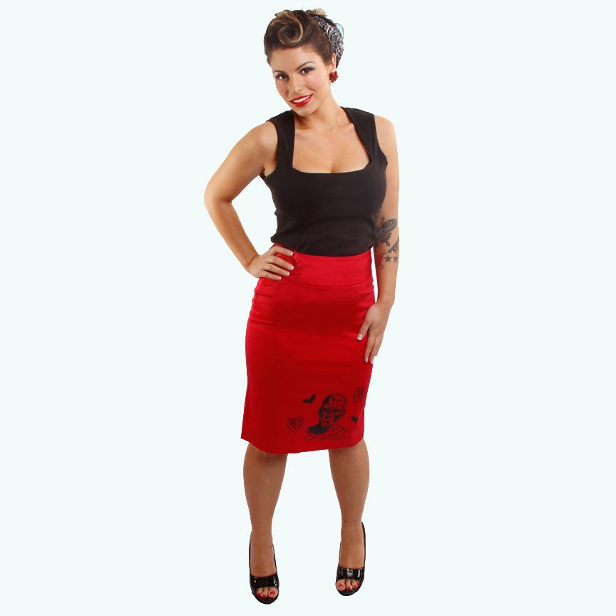 The Mummy on a red pencil skirt by Dressed To Kill - SALE sz S & M only