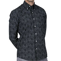 Long Sleeve Vintage Button Up By Relco London- Black Paisley