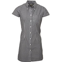 Gingham Button Up Shirt Dress by Relco London- Black Gingham