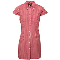 Gingham Button Up Shirt Dress by Relco London- Red Gingham