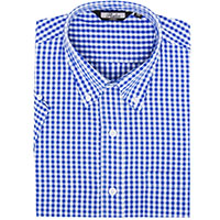 Gingham Short Sleeve Vintage Button Up By Relco London- Blue Gingham
