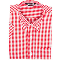 Gingham Short Sleeve Vintage Button Up By Relco London- Red Gingham