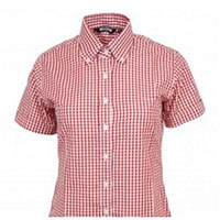 Girls Gingham Short Sleeve Button Up Shirt by Relco London- Red Gingham