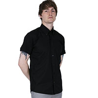 Classic Oxford Weave Short Sleeve Vintage Button Up By Relco London- Black