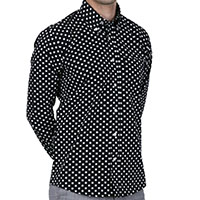 Long Sleeve Vintage Button Up By Relco London- Black With White Polka Dots