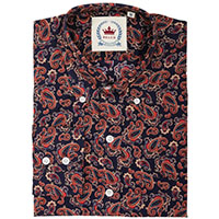 Paisley Long Sleeve Button Up By Relco London- Navy