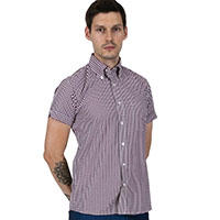Gingham Short Sleeve Vintage Button Up By Relco London- Burgundy Gingham