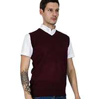 Tank Top (Vest) Sweater in BURGUNDY by Relco London