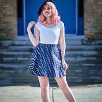 Let's Phase It Moon Print Skater Skirt by Retrolicious
