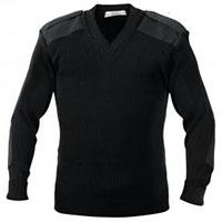 G.I. Style V-Neck Acrylic Commando Sweater by Rothco- Black