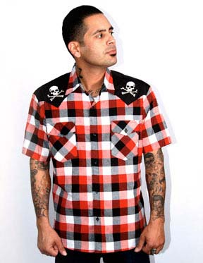 Chaos Skull & Bones Red Plaid Button Up Western Shirt by Steady  - SALE sz S & M only
