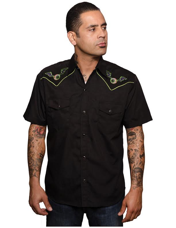 Flying Eyeball Button Up Western Shirt by Steady