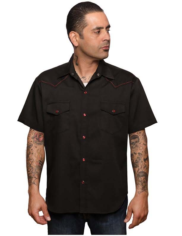 Classic Pic Stitch Button Up Western Shirt by Steady  - in black