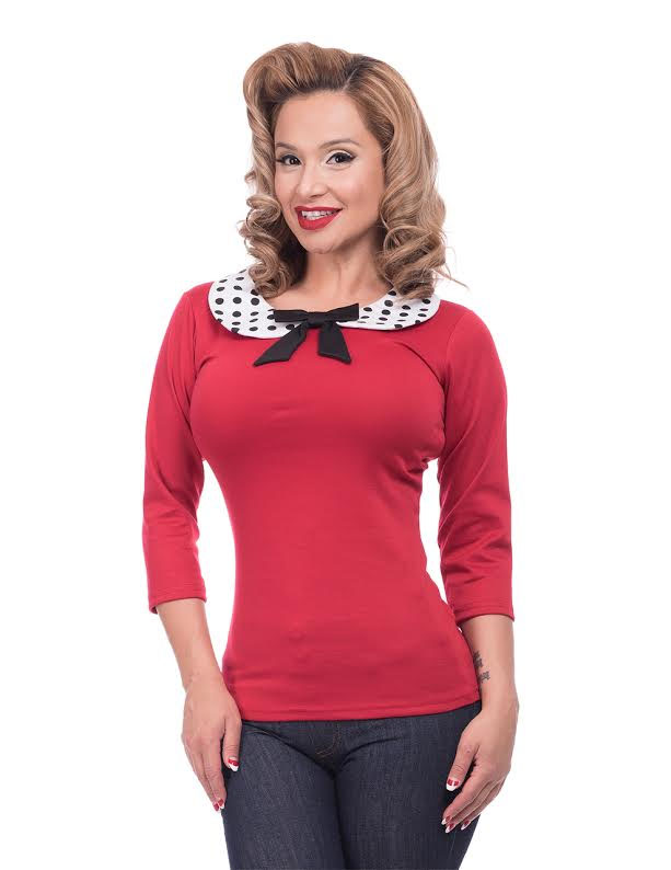 Baby Doll Girls Retro Peter Pan Collar Top by Steady - in Solid Red