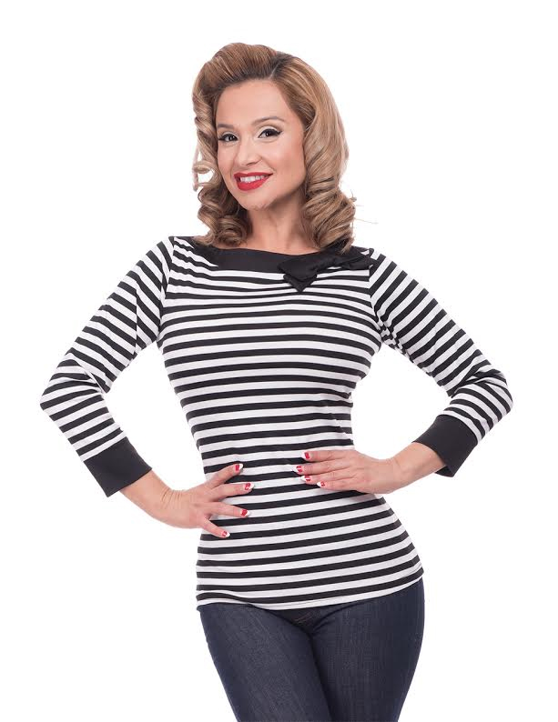 Striped Boatneck Top by Steady - in Black & White - SALE sz 1X only