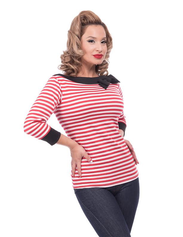 Striped Boatneck Bow Top by Steady - in Red & White - SALE sz S only