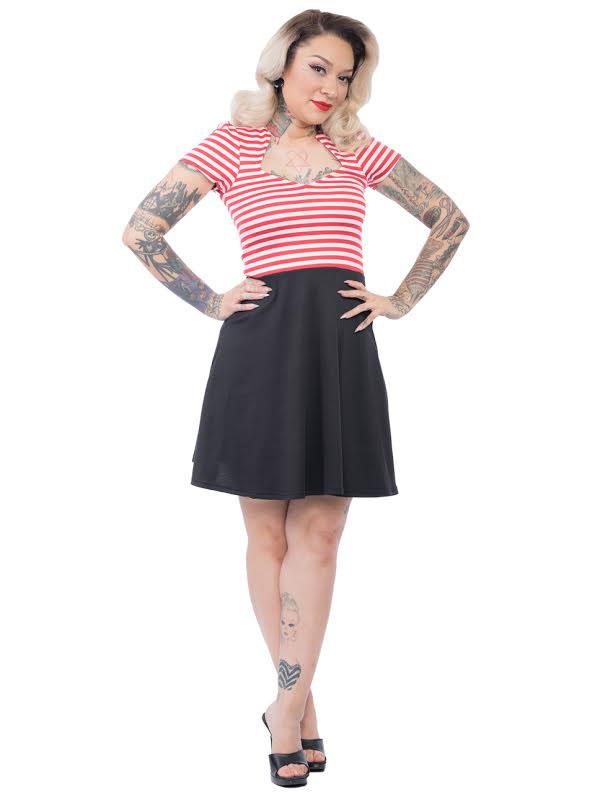 Striped All Angles Dress By Steady Clothing - in Red/White - SALE