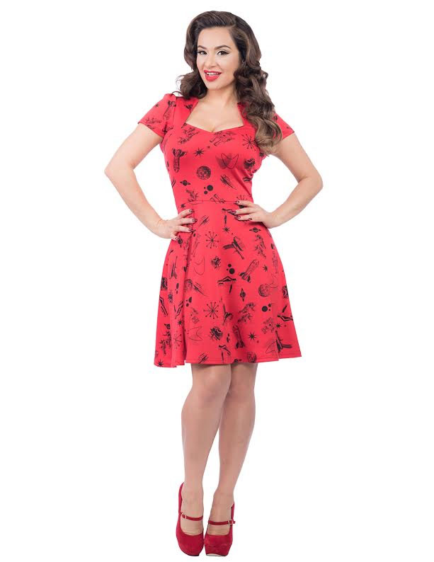 Space Robot 50's Dress from Steady Clothing - in Red - SALE