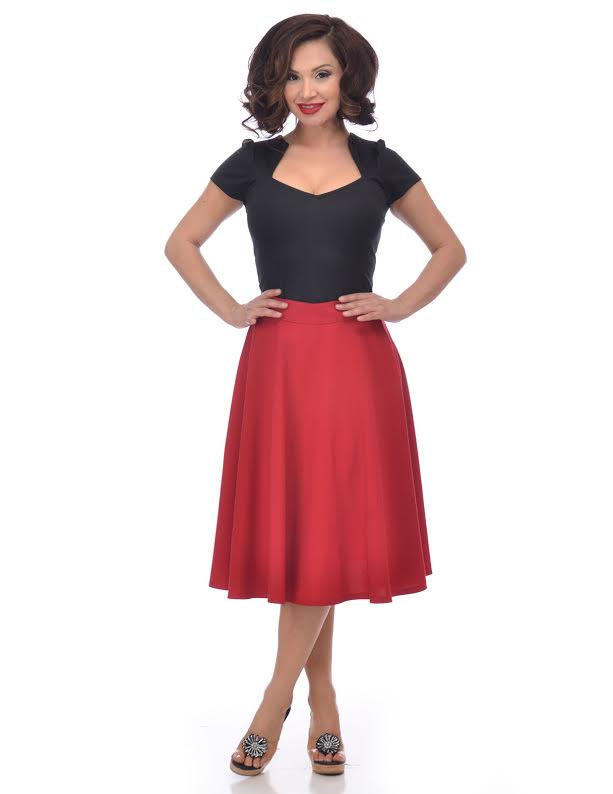 Thrills High Waisted Skirt By Steady Clothing - in Red - SALE