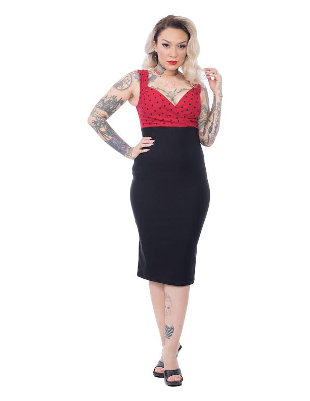 Spot On Diva Wiggle Dress By Steady Clothing - Black/Red - SALE