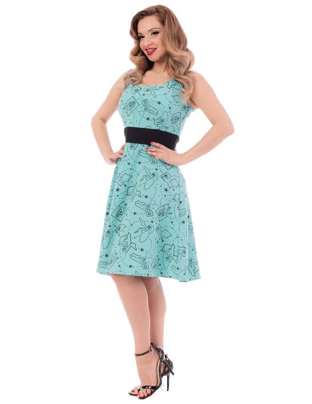Pinup State Dress By Steady Clothing - in Aqua - SALE