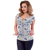 Retro Diver Tie Top by Steady - Ivory - Plus Size only - SALE sz 3x & 4X only