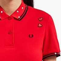 Amy Winehouse Girls Fire Red Polo Shirt With Studs & Hearts by Fred Perry (Sale price!)