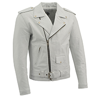 AYP Premium Motorcycle Jacket- WHITE leather