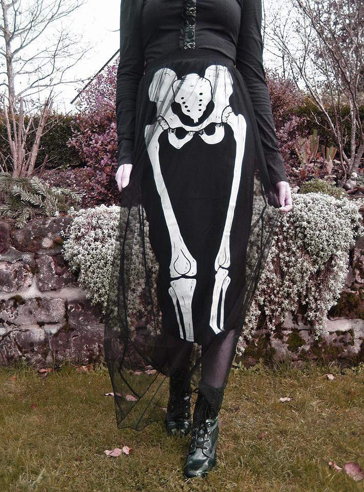 Skeleton Bone Tulle Pencil Skirt by Jawbreaker - SALE sz S only