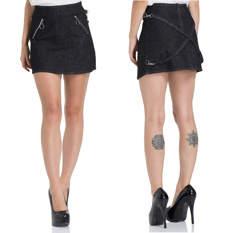 Black Denim Bondage Mini Skirt by Jawbreaker - SALE