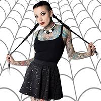 Web Skater Skirt by Kreepsville 666 - Black Foil