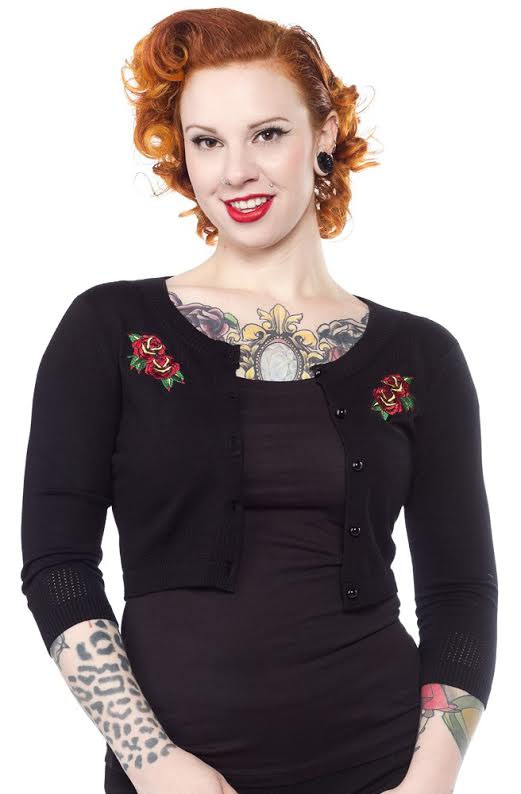 3/4 Sleeve Pointelle Roses Cardigan by Sourpuss - on Black