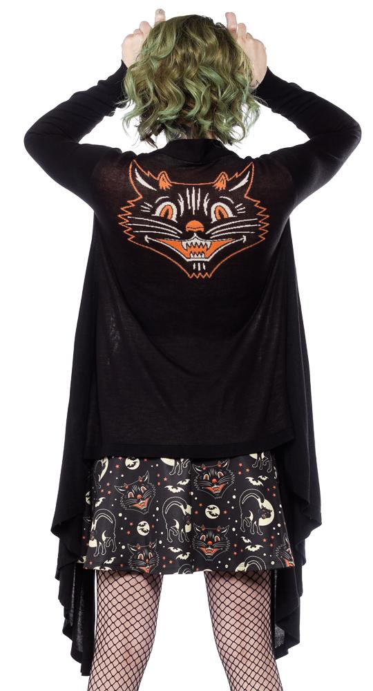 Lucy Fur Black Cat Draped Cardigan by Sourpuss - SALE sz M only