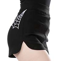 Spider Web Sweetie Pie Shorts by Sourpuss - Black with White Webs