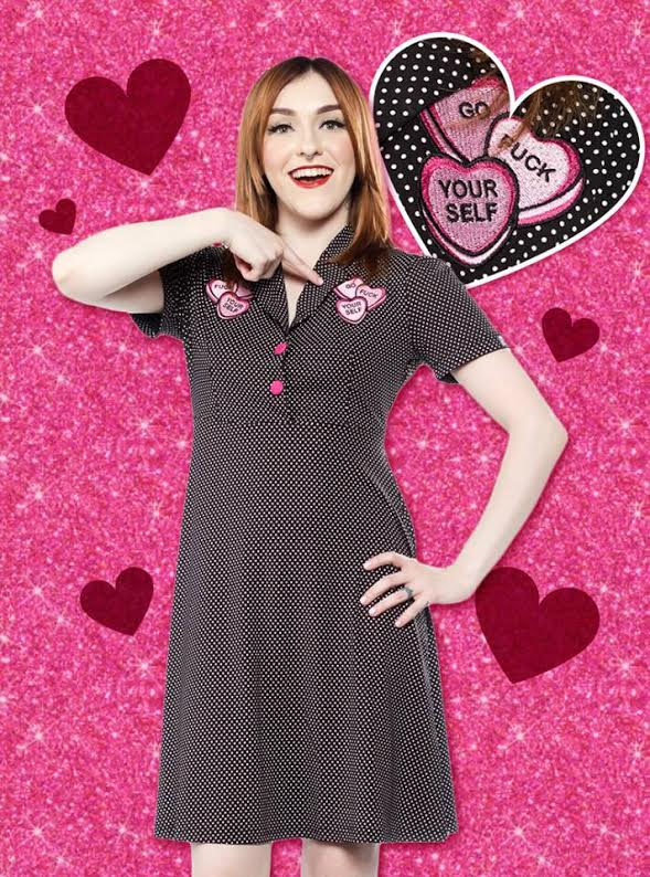 Candy Hearts Dress by Sourpuss - SALE sz L only